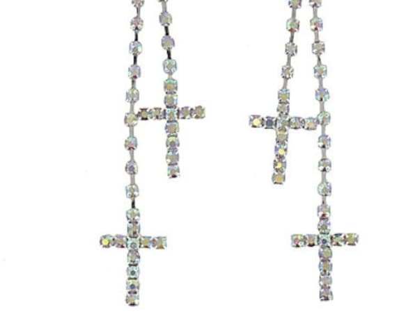 Cross Earrings Double Tassel Dangle Dichroic Wedding Party Aurora Borealis Rhinestone Crystal Inlaid Cross of Jesus Jewelry for Woman Girls