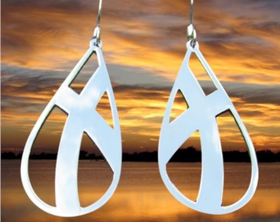 Silver Teardrop Cross Earrings Necklace Set Cut Out Crossed Roads Style Womens Girls Christian Jewelry - Saint Michaels Jewelry