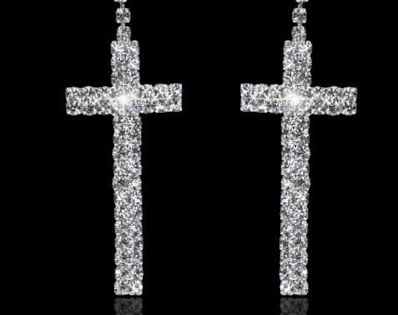 Silver Rhinestone Double Row Cross Stud Earring Dangle Women Girls Weddings