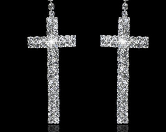 Silver Wedding Earrings Rhinestone Double Row Cross Stud Earring Dangle Women Girls jewelry jewellery