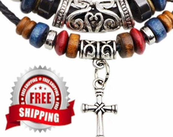 Boho 2 Strand Leather Cross Necklace Wood Bead Alloy Cross Charms Pendant Necklace For Men Christian Jewelry for Women jewellery for Girls