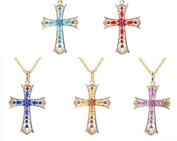 10 Crosses Lot Price Bridesmaid Gifts Colored Rhinestones Vintage Elegant Style Cross of Jesus Jewelry Pendant Crystal jewellery