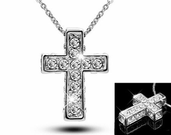 Silver Cross Necklace Rhinestone Filled Box both Front and Sides of Cross Pendant for Women Gorls Art Jewelry jewellery