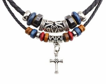 Cross Necklace Boho 2 Strand Leather choker Bohemian Wood Bead  Charms Pendant Necklace For Men Christian Jewelry for Women jewellery Girls