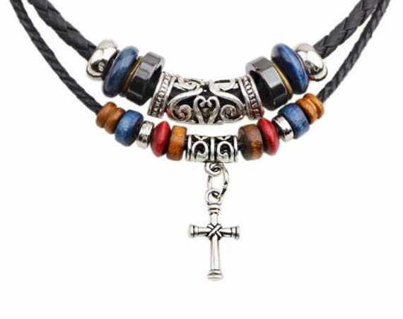 Boho 2 Strand Leather Cross Bohemian Necklace Wood Bead  Charms Pendant Necklace For Men Christian Jewelry for Women jewellery for Girls