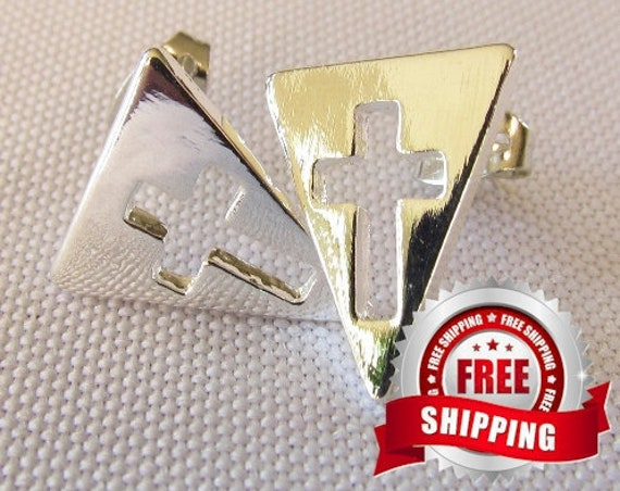 Tiny Silver or Gold Cross Earrings Cast Stud Triangle Modern Design Womans Girls Christian Jewelry - Saint Michaels Jewelry