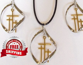 3 Crosses Twist Hoop Earrings Necklace Silver Gold Calvary Triple Cross of Jesus Drop Dangle Womans Christian Jewelry Jewellery