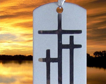 3 Crosses Necklace for Men Silver Triple Crosses of Calvary Dog Tag Pendant Heavy Chain Stainless Steel Christian Jewelry jewellery