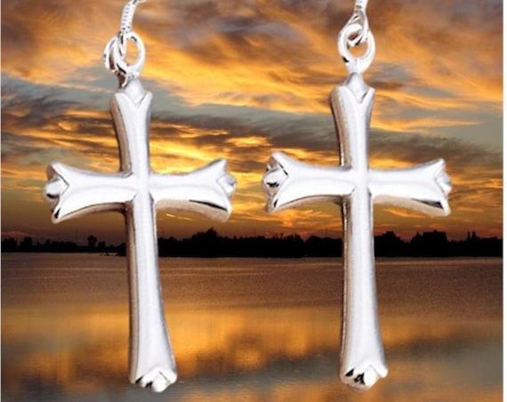Sterling Silver Cross Dangle Earrings and Necklace Sterling Silver Cast Pendant for Women Girls Drop Cross of Jesus Jewelry Jewellery