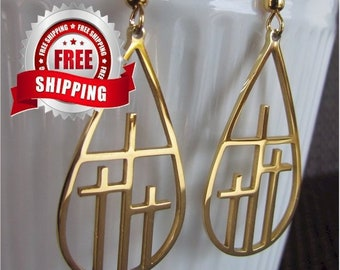 Cross Earrings Necklace Silver Gold 3 Crosses Drop Earrings Teardrop Hoop Calvary 3 Triple Three Cross Pendant Women Girls Christian Jewelry
