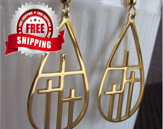 3 Crosses Earrings and Necklace Teardrop Calvary 3 Triple Three Cross Pendant Silver Gold Cutout Women Girls Christian Jewlery Jewellery