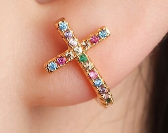 Cross Cuff Earrings Rainbow Stud Multi Color CZ Crosses Small for Women Girls Best Price Weddings Cheapest Bridesmaid jewellery jewelry