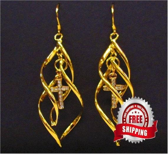 Double Twist Classic Dangle Rhinestone Cross Earrings Silver or Gold - Saint Michaels Jewelry