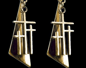Gold Earrings 3 Crosses Calvary Triple Cross Triangle Back Drop Dangle Womans Modern Christian Jewelry Jewellery