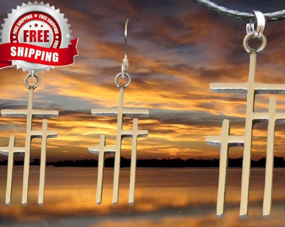 3 Crosses of Calvary Earrings and Necklace Set Pendant for Women Jewlery for Girls Christian Jewellery Triple Cross of Jesus