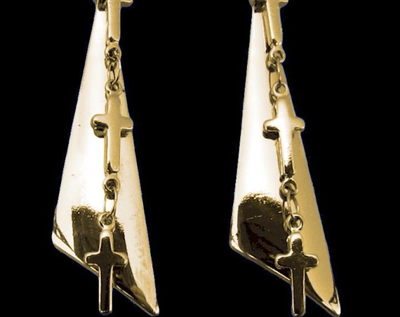 Silver Gold Tiny 3 Crosses Earrings Triangle Back Drop Dangle for Woman Girls Punk Hip Hop Christian Jewelry jewellery