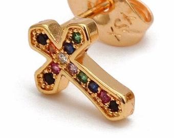 Cross Earring Dainty Rainbow Stud Multi Color CZ Crosses Small for Women Girls Best Price Weddings Cheapest Bridesmaid jewellery jewelry
