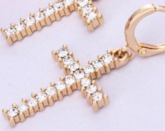 Zircon Cross Stud Earring CZ GoldCrosses Small Dangle Zircons for Women Girls Weddings jewellery jewelry
