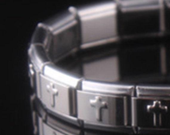 silver stainless steel bracelet men's wristband women bangles couples bracelets best price Stretch Bracelets Cross Stainless Steel Christ