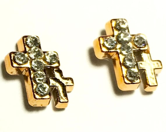 Rose Gold Double Cross Earring Minute Size Dainty Sparkling Rhinestones Modern jewellery for Woman Girls Christian Jewelry for young girls