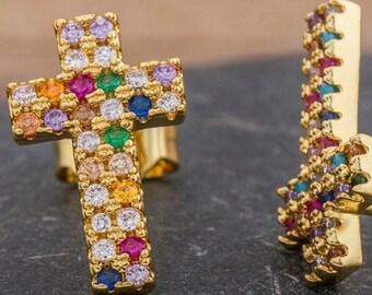 Cross Earrings Dainty Rainbow Stud Multi Color CZ Crosses Small for Women Girls Best Price Weddings Cheapest Bridesmaid jewellery jewelry