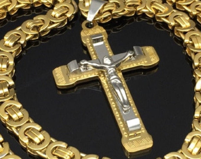 Featured listing image: Cross Crucifix Necklace Byzantine Chain Stainless Steel Gothic Silver Gold Heavy Catholic Jewelry Boys Hip Hop Jesus