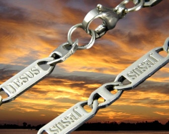 Silver JESUS Chain Stamped Bracelet Necklace Stainless Steel Jewelry for Men Jewellery for Woman Boys Girls Christian Cross of Jesus