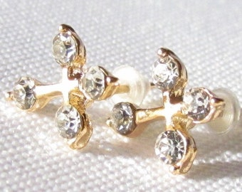 Gold Cross Earrings 4 CZ Cross Earrings Dainty Design Over the top elegant jewelry for Weddings Bridesmaids Gifts jewellery for young girls