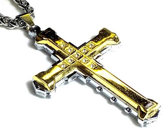 Cross Necklace for Men Boys Women 2 Layer Silver Gold Rhinestone Stainless Steel Chain Cross Jesus Jewelry Jewellery