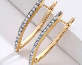 V Shape Earrings V Hoop CZ Stud Earrings Zircon Very Modern for Woman Girls Weddings Bridesmaids Jewelry jewellery