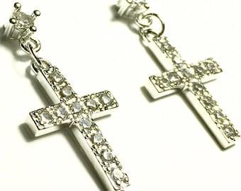 Silver RoseGold Cross Earrings Dainty Drop Dangle Studs Rhinestone Cast CZ Look Post Design Elegant Womens jewellery Girls jewelry jesus