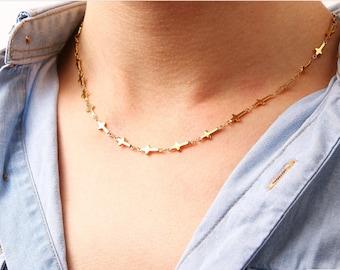 Sideways Cross Necklace Chain Gold Small Dainty Multi Horizontal Cross Chain Woman Girls Cross of Jesus Choker Stainless Steel Jewelry