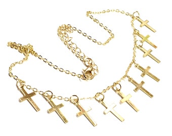 Multi Cross Silver Tiny Cross Necklace and Earrings Cross Chain Small choker Women Girls Meaning of the Horizontal Cross