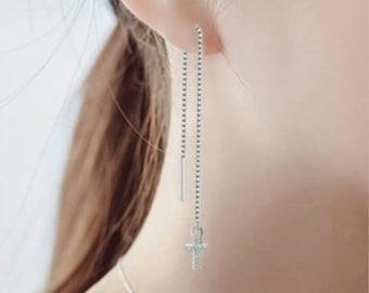 Silver Chain Cross Earrings Modern Small Long Drop Dangle Design for Women Girls Cross of Jesus Christian Jewelry jewellery