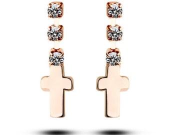 Gold Cross Stud Earrings Dainty Dangle 3 Drop Rhinestones Post Design Elegant Jewelry for Women cross of jesus jewellery for Girls