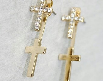 Double 2 Cross Earrings Dangle Gold Front and Back Two Piece Design with Crystal as a Bridal Accessory Jewelry for women jewellery for Girls