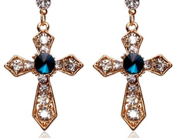 Gold Wedding Earrings and Necklace Rhinestone Studded Cross Pendant Set Earrings for Woman Girls Christian Jewelry jewellery