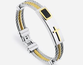 Cable Cross Bracelet Gold Raised Cross Mens Silver Gold Bangle Stainless Steel Engraved Boys Cuff Heavy Design Christian Jewelry Jewellery