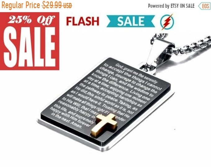 Featured listing image: VDS Heavy Black Silver Serenity Prayer Necklace Dog Tag Inset Gold Cross with Chain Full Prayer Design Pendant for Mens Boys Christian Jewel