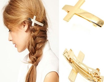 Cross Hair Barrettes Gold Hair Clips Vintage Crosses Design Gold Silver Cross Jewelry Barrette Hairstyles hair accessories jewellery