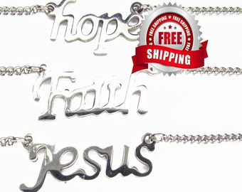 Silver Hope Faith Jesus Cross Pendant Cutout Necklace Chain Necklace for Girls Women Christian Jewelry script jewellery