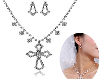 Wedding Set Earrings and Necklace Set Vintage Elegant Crystal Style CZ Look Pendant Drop Dangle Women Wedding Accessories Jewellery