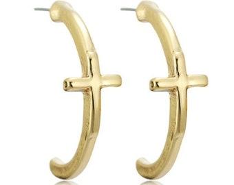 Cross Half Hoop Stud Earrings with Set Off Classic Crosses Modern Womans Girls Christian Jewelry jewellery cross of jesus