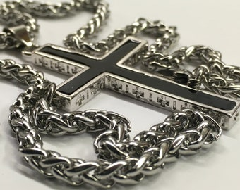 Silver Cross Black Accent Cast Cross Necklace for Men Old World Silver 925 Necklace Cross 2 Color Super Box Chain Jesus Jewelry Jewellery