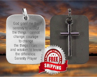 Serenity Prayer Necklace Silver Cross Pendant Two Piece Dog Tag Design for Christian Jewelry Cross of Jesus jewellery Hevy Chain