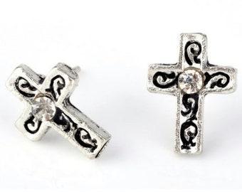 Antique Crystal Cross Stud Earrings Boho Single Inlaid Rhinestone in Center Dainty Light Weight Cross Christ jewelry Women Girls jewellery