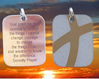Silver Serenity Prayer DogTag Necklace Crossroads Cross of Jesus Stainless Steel Pendant Pendnat for Women Men Boys Girls Jewelry jewellery
