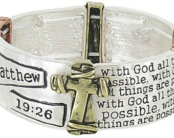 Matthew 19:26 Bracelets Stretch Cuff Wrap Bangle 3 Colors Gold Brass Christian Verse jewellery Jewelry