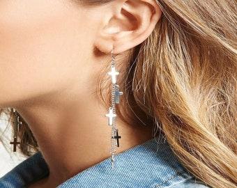 Silver Multi 5 Cross Earrings Boho Silver Chain Hippie Dangle Wedding Sideways Cross of Jesus Jewelry for Woman Jewellery for Girls