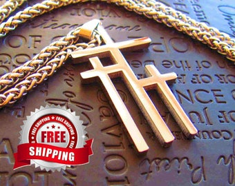 Silver Necklaces for Men 3 Crosses of Calvary Three Cross Large Pendant for Men Boys Heavy Braided Chain Cross of Jesus Jewelry jewellery